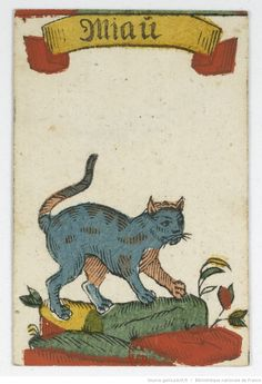 """Cat card from a deck of German playing cards called the """"jeu du coucou"""" - 1760 Medieval Drawings, Medieval Paintings, Medieval Art, Illustrations, Illustration Art, Image Chat, Book Of Hours, Medieval Manuscript, Naive Art"""