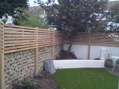 Image result for brick wall lattice fence extension