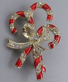 XMAS w Swarovski Crystal Candy Cane Stick Bow Holiday Gold Plated Pin Brooch New