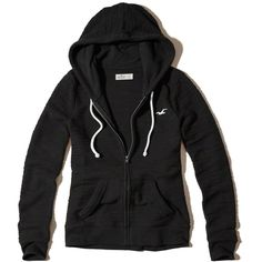 Hollister Full-Zip Boucle Icon Hoodie ($25) ❤ liked on Polyvore featuring tops, hoodies, jackets, outerwear, sweatter, black, hooded sweatshirt, drawstring hoodie, full zipper hoodies and drawstring hooded pullover