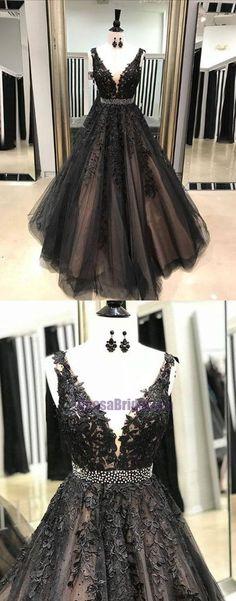 Black V Neck Lace Appliques A-Line Popular Modest Prom Dresses, Formal Prom dress, PD0676