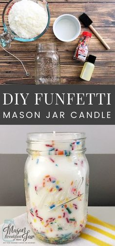 DIY Funfetti Soy Mason Jar Candles make fun centerpieces for birthday parties, easy homemade gift ideas, pretty home décor accessories, and delicious smelling air fresheners. You can whip up these Mas (Diy Projects Mason Jars) Easy Homemade Gifts, Homemade Candles, Diy Candles Easy, Homemade Home Decor, Diy Candles With Crisco, Diy Candle Ideas, Diy Candels, Diy Candles To Sell, Easy Homemade Christmas Gifts