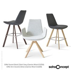The steel frame of Soho Concept Eiffel Arm Sword Dining Chair is molded by injecting polyurethane foam. #SohoConcept #DiningChair #TayfurOzkaynak Available at allmodernoutlet.com  http://www.allmodernoutlet.com/soho-concept-eiffel-arm-sword-dining-chair/