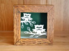 Wise Owls - Beautiful framed original floating papercut