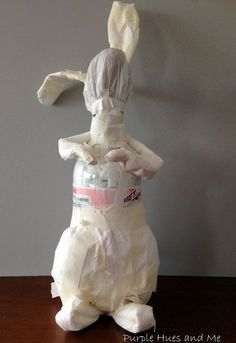 Recycled Decoupaged Paper Mache Bunny is part of Upcycled Crafts Paper Kids - Stuff a soda bottle with plastic bags (Adorable tabletop idea! Easter Crafts, Bunny Crafts, Easter Decor, Easter Ideas, Light Up Canvas, Paper Mache Animals, Coffee Filter Crafts, Mesh Wreath Tutorial, Globe Decor