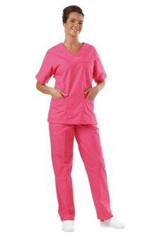 Completo Casacca e Pantalone Per Medico Infermiere Fisioterapista in Cotone Fuxia