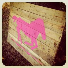 Pallet wall art. Love the pink horse!