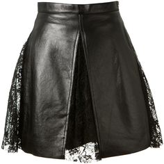 Saint Laurent Tulle And Lace Embellished Black Leather Skirt ($3,290) ❤ liked on Polyvore featuring skirts, zipper skirt, yves saint laurent, lace skirt, black tulle skirt and black slip