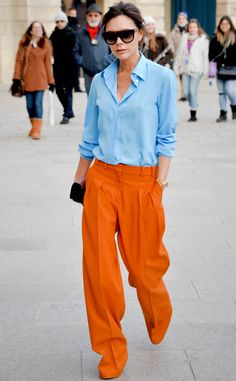 It's an Orange Pants Party from Victoria Beckham's Best Looks - Mode - Styles - Orange Pants Outfit, Orange Jeans, Color Blocking Outfits, Look Fashion, Fashion News, Fashion Outfits, Modest Fashion, Hijab Fashion, Winter Fashion