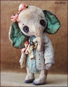 by Alla Bears original artist Mint Winter Wonderland Elephant Ellie ooak art toy doll Vintage Antique baby handmade stuffed decor Christmas