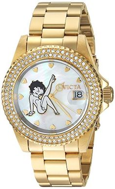 Invicta Womens Character Collection Quartz and Stainless Steel Casual Watch ColorGoldToned Model 24492 * For more information, visit image link. (This is an affiliate link) Womens Day Date, Boyfriend Watch, Mesh Band, Casual Watches, Stainless Steel Bracelet, Quartz Watch, Gold Watch, Bracelet Watch, Model