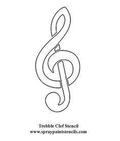 Treble Clef Stencil Coloring Page - NetArt Free Stencil Maker, Free Stencils, Music Notes Decorations, Music Tattoo Designs, Music Crafts, Quilling Patterns, Partys, Book Projects, Project Ideas