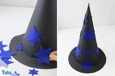 Witch hat made of paper - Instructions and ideas - Talu.de - Witch hat made out of paper – instructions and ideas – Talu. Expirements For Kids, Hand Crafts For Kids, Puzzles For Kids, Easy Crafts, Wedding Frock Designs, Halloween Diy, Halloween Decorations, Nametags For Kids, Event Branding