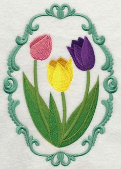 I can hardly wait for spring and the tulips to come out! New this week and on sale, flower cameos. You can buy just the frame and use it to encircle other flower designs or monograms that you have. Machine Embroidery Designs at Embroidery Library! - New This Week