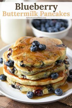 How to make the most delicious homemade Blueberry Buttermilk Pancakes. Fluffy pancakes filled with sweet, juicy blueberries. #blueberry #pancakes #breakfast #breakfastrecipes #brunch #blueberries #easyrecipes #brunchtime #brunching #blueberrypancakes #delicious #food #sweettreats