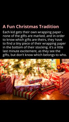 This Christmas gift wrapping organization idea (for family with multiple kids) can also be a fun holiday tradition: find out which presents are yours by finding a piece of your wrapping paper at bottom of your stocking! No names/gift tags required! Merry Christmas, Christmas Games, Christmas Activities, Little Christmas, Diy Christmas Gifts, Family Christmas, Winter Christmas, All Things Christmas, Christmas Ideas