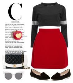 """An apple a day ..."" by mcheffer ❤ liked on Polyvore featuring Norma Kamali, Delpozo, Chanel, ALDO and Blanc & Eclare"