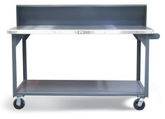 Shop Table with Casters and Stainless Steel Top - Mobile shop table with 12 gauge steel bottom shelf, riser shelf, and 7 gauge steel stainless steel top. Stainless Steel Table, Stainless Steel Cabinets, Industrial Shop, Industrial Storage, Mobile Shop, Storage Solutions, Shelf, Top, Shopping