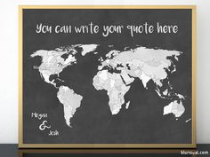 "Last minute gift, diy personalized world map with countries and states outlined in chalkboard style, 20x16""  Template file for creating your own personalized world map in Microsoft Word. World map chalkboard and grey."
