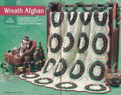 Christmas Afghan Crochet Pattern - Christmas Wreaths Design