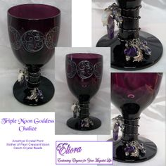 Triple Moon Goddess Amethyst Altar Chalice Amethyst Point, Mother of Pearl Crescent Moon, Czech crystal beads