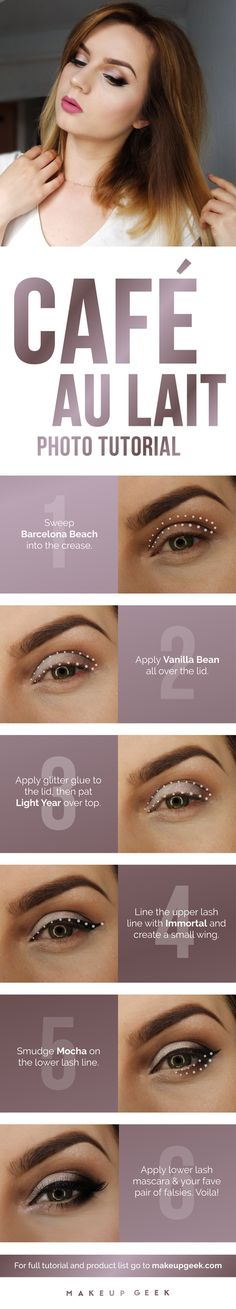 You don't need to be a coffee connoisseur to try this java-inspired creation by @justyna_mua! Rich browns are blended to perfection, and a touch of glitter on the lid adds a beautiful, sparkly jolt. Check out the step-by-step photo tutorial to recreate the look! #makeupgeekcosmetics #makeupgeek