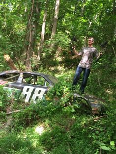 Out in his racecar graveyard