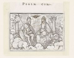 Hans Holbein (II)   Drieëenheid, Hans Holbein (II), Veit Rudolf Specklin, 1538   Christus tronend met kruisvaandel naast God tussen zuilen in de hemel. Tussen hen in zweeft het symbool van de heilige Geest, een duif. In de marge boven de afbeelding staat de tekst Psalm CIX. De prent is beklad met pen in bruin.