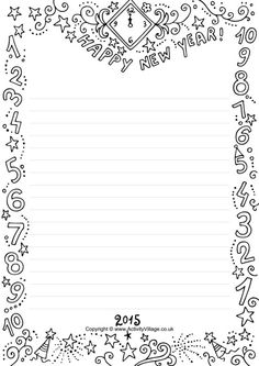 2015 frame_choose between blank for drawing and lined for writing new years activities activities for