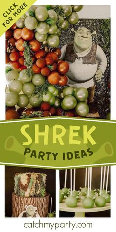 Check out this fun Shrek birthday party! The cake pops are so cool! See more party ideas and share yours at CatchMyParty.com #catchmyparty #partyideas #shrek #shrekparty