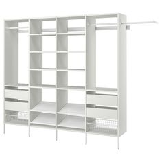 AURDAL Wardrobe combination - white - IKEA Ikea Closet Hack, Closet Hacks, Closet Ideas, Ikea Closet Shelves, Wardrobe Systems, Pax Wardrobe, Plastic Shelves, Plastic Drawers, Basket Shelves
