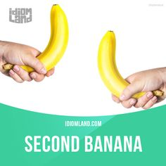 """""""Second banana"""" is a person who is less important than his or her partner. Example: I am the president of the company, and my second banana is my vice-president. #idiom #idioms #slang #saying #sayings #phrase #phrases #expression #expressions #english #englishlanguage #learnenglish #studyenglish #language #vocabulary #dictionary #grammar #efl #esl #tesl #tefl #toefl #ielts #toeic #bananas #banana"""