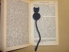 Marque page original - Chat gris crocheté en coton : Marque-pages par les-fees-papillons