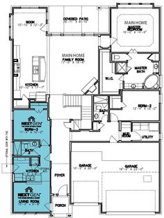Lennar Next Gen Concordia II Floor Plan for Multi-Generation Home Dream House Plans, Small House Plans, House Floor Plans, Round Rock, Building Plans, Building A House, Village Builders, Duplex Plans, Provence