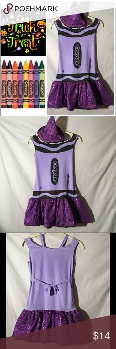 "Crayola Crayon Costume Wisteria Sequin Stretch Adorable and great color! This lilac purple stretch costume is adorned with glitter and sequins. Add a purple top and leggings and you are good to go on the hunt for candy!! Wisteria crayon costume comes with pointy Sequin hat which stays on via headband. The headband is soft covered...no teeth and comfortable to wear. Excellent condition no tears or stains. Stretchy, would accommodate many girls or junior sizes. 15"" armpit to armpit and 27""…"