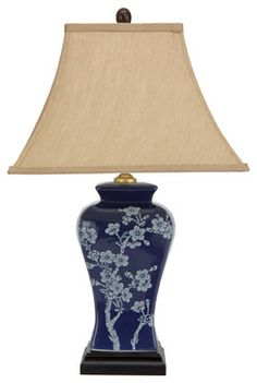 "23"" Cherry Blossoms Blue Porcelain Jar Lamp traditional-table-lamps"