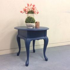 Side table makeover using Sapphire Skies Chalk Paint Colors, White Chalk Paint, Side Table Makeover, Color Of The Year, Rustic Farmhouse, Your Space, Contemporary, Modern, Sapphire