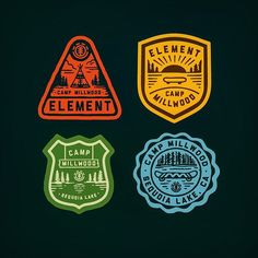 WIP for Element Skate Camp by curtisjinkins Typography Logo, Logo Branding, Brand Identity, Lettering, Vintage Patches, Badge Logo, Patch Design, Retro Logos, Badge Design