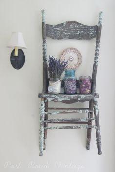 Shabby chair as a shelf!