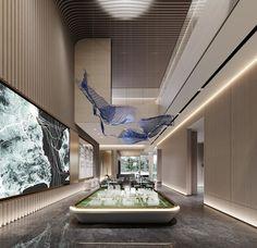 Sales Center, Hotel Lounge, Lobby Design, Lobbies, Atrium, Entrance, Pendant Lamps, Restaurant, Ceilings
