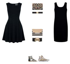"""""""LBD"""" by annika-gallo ❤ liked on Polyvore featuring Oasis, Être Cécile, Balmain, Converse, Versace, Stella & Dot, New Look, Clutch, belt and LittleBlackDress"""