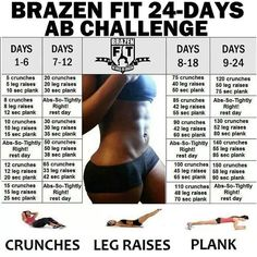 This challenge called Brazen Fit 24 Day Ab Workout is created by a group of ladies who exercise together. It is combined with different exercises: crunches, leg raises, and planks.