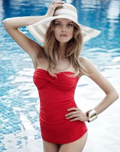 make a statement with this red strapless maillot
