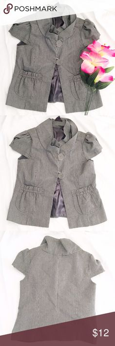 Pinstriped Mini Jacket Mini jacket has dark grey and white striped in a fitted kind of cropped style. Great for work or adding over a dress.                                                >>measurements<< -bust:17.5 in  -waist:17.5 in -length:20.5 in   >>Condition:pre-loved no holes or stains   No holds or Trades sorry! Forever 21 Jackets & Coats