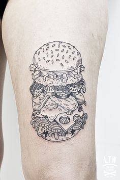 Hamburger by Ciscu, LTW Tattoo Studio.