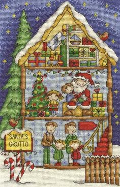 Buy Santa's Grotto Cross Stitch Kit Online at www.sewandso.co.uk