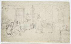 Jan Brandes | Vrouwenvertrek te Batavia, Jan Brandes, 1779 - 1785 | Voyeuristische inkijk in een vrouwenvertrek in een woonhuis te Batavia. De vrouw des huizes in slaaphemd in kleermakerszit op de grond, bij haar een sirih-slavin en een slavin met dienblad. De vrouw steekt net iets in haar mond en kijkt op naar een dame met waaier die binnenkomt gevolgd door een slavin. Achter een bed met klamboe, links een tafel met een maquette of poppenhuis. Door een gordijn rechts steekt de voyeur zijn…