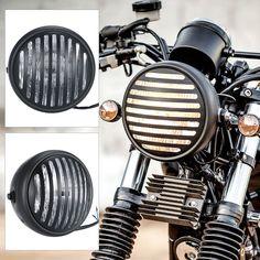 Pas cher Universel 6.3 Pouce Moto Phare Argent Couleur avec Chrome Grill Style pour Harley Café Racer, Acheter  Phares de qualité directement des fournisseurs de Chine:Universel 6.3 Pouce Moto Phare Argent Couleur avec Chrome Grill Style pour Harley Café Racer