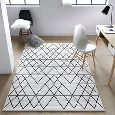 fedro graphic print rug black white la redoute interieurs la white and black rug. fedro graphic print rug black white la redoute interieurs la white and black rug black and white ge Tapete Pink, Polypropylene Rugs, Black Carpet, Geometric Rug, White Rug, Black White, Carpet Design, Rugs On Carpet, Carpet Decor