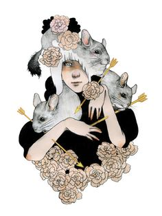 Figurative Illustrations by Fumi Nakamura is a Japanese illustrator and artist who currently lives in the New York City area. Fumi was in a small town called Shimizu outside of Shizuoka, Japan. Chinchilla Pet, Funny Animals, Cute Animals, Amazing Drawings, Fur Babies, Illustrators, Rodents, Illustration Art, Creatures